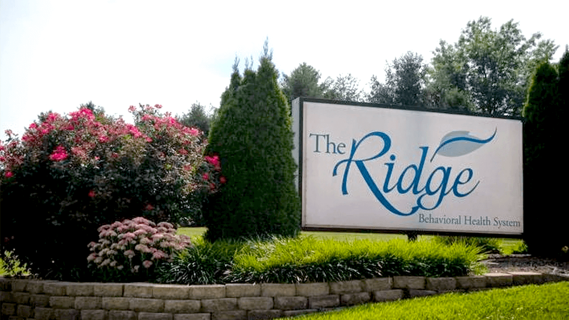 Entrance sign for The Ridge Behavioral Health System